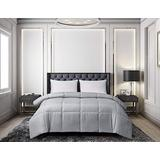 Blue Ridge Home Fashions Microfiber Light Weight Solid Down Alternative All Season Comforter - Hypoallergenic Polyester Fill, Full-Queen, Platinum