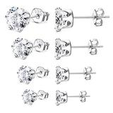 Milacolato 4Pairs 18K Gold Plated Sterling Silver CZ Stud Earrings Set 6 Prongs Round Cut Simulated Diamond Stud Earrrings for Women 4mm-7mm