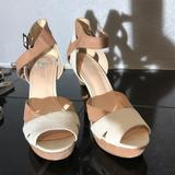 Nine West Shoes | Nine West Nude And White Heeled Sandals | Color: Cream/White | Size: 8