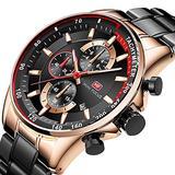 Mini Focus Men's Watches Waterproof Chronograph Auto Date Analog Quartz Watch Man Blue Stainless Steel Mens Wristwatch