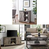 Walker Edison Furniture Company Modern Farmhouse Buffet Entryway Bar Kitchen Dining Storage Cabinet with Barn Wood Universal Stand for TV's and Metal and Wood Rectangle Accent Coffee Table