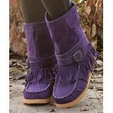 YASIRUN Women's Casual boots Purple - Purple Buckle-Strap Fringe Boot - Women