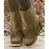 YASIRUN Women's Casual boots Navygreen - Army Green Buckle-Strap Fringe Boot - Women