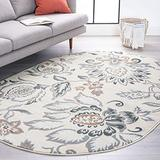 Stella Cream 5x8 Oval Area Rug for Living, Bedroom, or Dining Room - Traditional, Floral