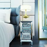 3-Drawer Mirrored Nightstand, Bedside Table with Crystal Diamond Inlay, End Table for Bedroom, Living Room
