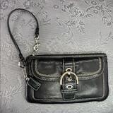Coach Bags | Coach Leather Buckle Mini Top Handle Clutch Purse | Color: Black/White | Size: Os