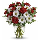 Red Carnation White Daisy Bouquet (Free Glass Vase Included)