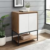 """""""24"""""""" 2 Door Accent Cabinet with Lower Shelf - English Oak/Solid White - Walker Edison AF24NYM2DEO"""""""