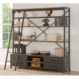 FC Design Storage Metal Frame Bookshelf w/ Rolling Ladder In Sandy Gray Handmade Paint Finish in Brown/Gray, Size 83.0 H x 74.0 W x 17.0 D in