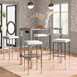 Etta Avenue™ Avery 5 - Piece Bar Height Dining Set Glass/Metal/Upholstered Chairs in Gray, Size 32.0 H in   Wayfair