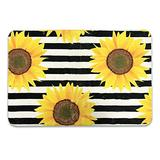 AGONA Modern Area Rug 2x3 Sunflowers On Striped Black White Rugs Soft Indoor Floor Carpet No-Shedding Non-Slip Rectangle Mat for Living Room Entryway Bedroom Dormitory