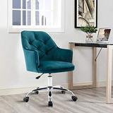 HomVent Upholstered Swivel Chair, Modern Design Accent Arm Chair, Velvet Desk Chair Leisure Arm Chair Adjustable Swivel Task Stool for Living Room/Bedroom/Office (Teal Blue)