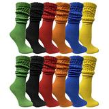 12 Pack Yacht & Smith Womens Cotton Slouch Socks, Womans Knee High Boot Socks (Assorted)