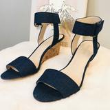 Nine West Shoes   Nine West Riley Denim Wedge Sandal   Color: Blue   Size: 8.5