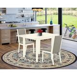 Red Barrel Studio® Abrahms Drop Leaf Rubberwood Solid Wood Dining Set Wood/Upholstered Chairs in White, Size 30.0 H in | Wayfair