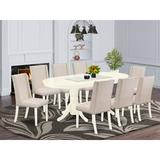 Darby Home Co Rosalba Butterfly Leaf Rubberwood Solid Wood Dining Set Wood/Upholstered Chairs in Brown/White, Size 30.0 H in | Wayfair