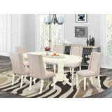 Darby Home Co Rosalba Butterfly Leaf Rubberwood Solid Wood Dining Set Wood/Upholstered Chairs in Brown/White, Size 30.0 H in   Wayfair