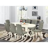 Alcott Hill® Seese Butterfly Leaf Rubberwood Solid Wood Dining Set Wood/Upholstered Chairs in Brown/Gray/White, Size 30.0 H in | Wayfair
