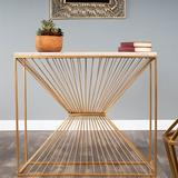 """Everly Quinn Weintraub 36"""" Console Table Wood/Slate/Stone in Brown/Gray/Yellow, Size 32.0 H x 36.0 W x 12.0 D in 