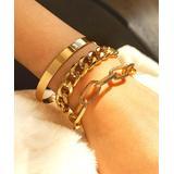 IngeSight.Z Women's Bracelets Golden - Goldtone Textured Chain Link Bracelet Set