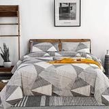 CLOTHKNOW Geometric Comforter Set Queen Grey White Boho Striped Bedding Comforter Full Boys Girls Mens Women Bedding Sets Comforter Triangle Bed Comforter 3Pcs Queen/Full Size Bedding Comforter Sets