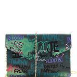 Retro Vintage Multicolor Colorful Graffiti Vegan Leather Tote Purse Handbag (Envelope Clutch - Green)