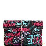 Retro Vintage Multicolor Colorful Graffiti Vegan Leather Tote Purse Handbag (Envelope Clutch - Black/Blue)