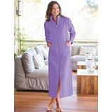 Women's Long Zip-Front Fleece Robe, Light Violet Purple M Misses