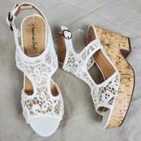 American Eagle Outfitters Shoes | Aeo Cream Lace Crochet Cork Sandal Wedge Heels 10 | Color: Cream/Tan | Size: 10