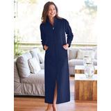 Women's Plus Long Zip-Front Fleece Robe, Rich Indigo Blue 3XL