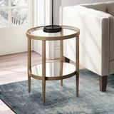 Hera Antique Brass Finish Round Side Table - Hudson & Canal ST0133