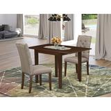 Winston Porter Halfon Drop Leaf Rubberwood Solid Wood Dining Set Wood/Upholstered Chairs in Brown, Size 30.0 H in | Wayfair