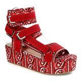 Mia Bandanna Platform Sandals for Women Open Toe Ankle Strap Shoes (Red Bandanna, numeric_7)
