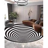 Shan-S Area Rug Round Carpet, 3D Visual Illusion Black White Printed Shaggy Fluffy Floor Mat,Anti-Skid Floor Mat,Polyester Soft Comfortable Carpet for Living Room Bedroom Dining Room Carpet Decor