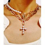 Streetregion Women's Necklaces White - Imitation Pearl & Goldtone Cross Layered Pendant Necklace