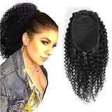 Drawstring Ponytail Extension Human Hair Kinky Curly Drawstring Ponytail With Wrap Extensions Natural Color For Black Women 3C 4A Kinky Curly Hair Piece Clip in Ponytail Hair Extension(12inch 100gram)