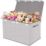 Kids Toy Box Chest Storage with Flip-Top Lid - Collapsible Toys Boxes Bin Organizer for Nursery, Playroom,Closet,Home Organization - Tree Branch Pattern - Grey
