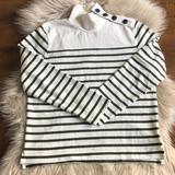 J. Crew Sweaters | J. Crew Striped Mock Turtleneck | Color: Cream/Green | Size: Xs