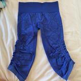 Lululemon Athletica Pants & Jumpsuits | Lululemon Cobalt Blue Snake Print Cropped Legging | Color: Blue | Size: 4