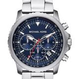 Michael Kors Accessories | Michael Kors Theroux Chronograph Stainless Watch | Color: Blue/Silver/Tan | Size: Os