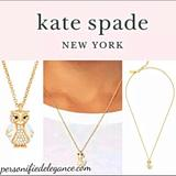 Kate Spade Jewelry | Kate Spade White Owl Crystal & Gold Necklace | Color: Gold/White | Size: 16