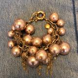 J. Crew Jewelry | Jcrew Pearl Bracelet Gold Tones Beige Pearl Beauty | Color: Cream | Size: Os