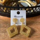 Madewell Jewelry | Madewell Glitter Diamond-Shaped Statement Earrings | Color: Gold | Size: Os
