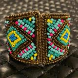 Free People Jewelry | Free People Boho Tribal Beaded Cuff Bracelet | Color: Brown/Gold | Size: Os