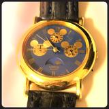 Disney Accessories | Disney Sunmoon Phase Unisex Chronograph Watch | Color: Blue/Gold | Size: Os