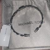 Michael Kors Jewelry | Mk Black Rhodium-Plated Sterling Silver Bangle | Color: Black/Silver | Size: Os