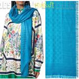 Gucci Accessories | Gucci Turquoise Ataria Monogram Gg Jacquard Weave Giant 55 Pashmina Shawl Scarf | Color: Blue | Size: 55 X 55