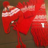American Eagle Outfitters Accessories | Fun Scarf, Toboggan Hat & Mittens American Eagle | Color: Red/White | Size: Os