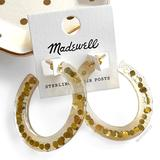 Madewell Jewelry   Madewell Paillette Resin Oval Hoop Earrings   Color: Gold   Size: Os