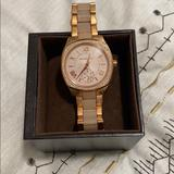 Michael Kors Accessories | Micheal Kors Mother Of Pearl Band Diamond Watch. | Color: Gold | Size: Os